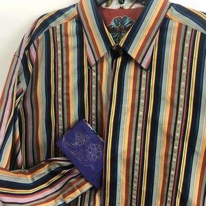 😍ROBERT GRAHAM 3XL Button Down Embroidered Shirt